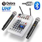 Debra Audio DJ Console Mixer Soundcard with 2channel UHF