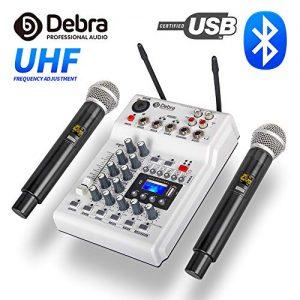 Debra Audio DJ Console Mixer Soundcard with 2channel UHF