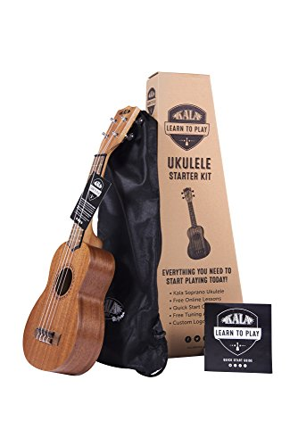 Official Kala Learn to Play Ukulele Soprano Starter Kit, Satin Mahogany