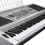 61 Key LCD Display Electronic Keyboard 37″ w/Black Adjustable X-Stand Piano Music Electric Silver 3