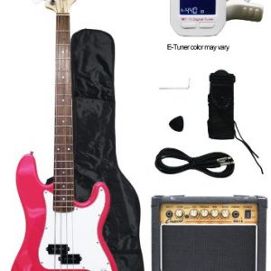 Crescent Electric Bass Guitar Starter Kit - Pink Color