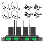 Wireless Microphone System Pro Audio UHF 4 Channel 4 Lavalier Bodypacks