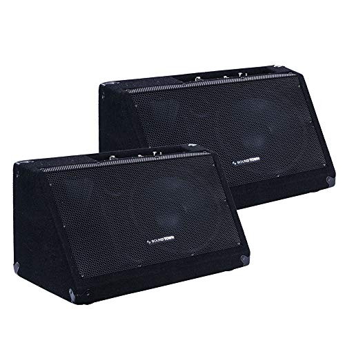 Sound Town 2-Pack Powered DJ PA Stage Monitor Speakers