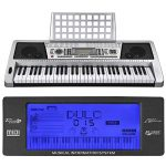 61 Key LCD Display Electronic Keyboard 37″ w/Black Adjustable X-Stand Piano Music Electric Silver 1