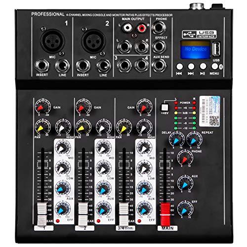 Depusheng HT4 Professional 4 Channel USB Jack Portable Audio Mixer