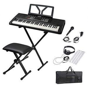 ADM 61 Key Portable Electronic Keyboard Piano Beginner Kit with Stand