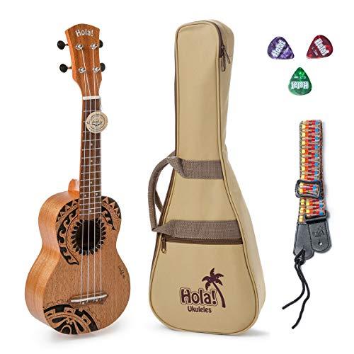 Hola! Music Laser Engraved Mahogany Soprano Ukulele Bundle