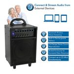 Wireless Portable PA Speaker System – 400W Bluetooth Compatible Rechargeable Battery Powered Outdoor Sound Stereo Speaker Microphone Set w/ Handle, Wheels – 1/4″ to AUX, RCA Cable – Pyle PWMA230BT 1