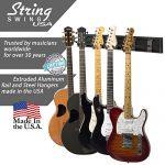 String Swing SW5RL-B-K Guitar Keeper Bundle with 5 Guitar Hangers & 1 Black Vein Strong Wall Mount 2