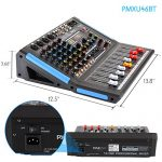 4-Channel Bluetooth Studio Audio Mixer – DJ Sound Controller Interface with USB Drive for PC Recording Input, XLR Microphone Jack, 48V Power, Input/Output for Professional and Beginners – PMXU46BT 2