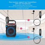 Wireless Lavalier Microphone System FerBuee Wireless Lapel Clip Microphones, 2 Lavalier Mics & 1 Receiver, 100ft Stable Transmission Voice Recording Mic for Phones, Cameras, Great for Speakers 1