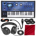 Novation MiniNova 37-Mini-Key Analog Modeling Synthesizer W/Deluxe Bundle, Samson Stereo Headphone, Cables, and FiberTique Cleaning Cloth