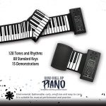 KikerTech Roll Up Piano Keyboard with Built-In Speaker | Premium Silicone | MIDI AUX USB | Connecting Pedal and Bluetooth (88 Keys) 1