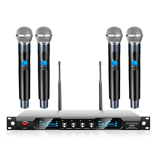 innopow 4-Channel Wireless Microphone System,Quad UHF Metal Cordless Mic