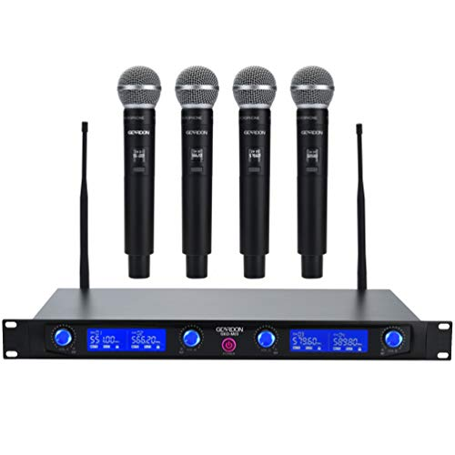 GEARDON Wireless Microphone System 4 Handheld Professional Fixed