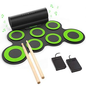 PAXCESS Electronic Drum Set, Roll Up Drum Practice Pad Midi Drum Kit