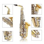ammoon LADE Alto Saxophone Sax Glossy Brass Engraved Eb E-Flat Natural White Shell Button Wind Instrument with Case Mute Gloves Cleaning Cloth Grease Belt Brush 2