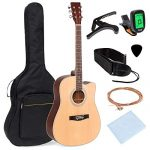 Best Choice Products 41in Full Size Beginner Acoustic Cutaway Guitar Kit w/Padded Case, Strap, Capo, Extra Strings, Digital Tuner, Picks (Natural)