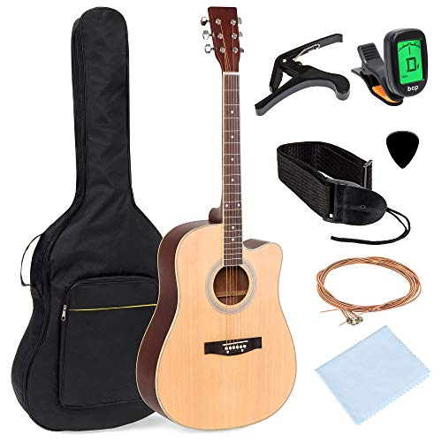Best Choice Products 41in Full Size Beginner Acoustic Cutaway Guitar Kit