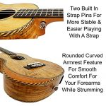 Ukulele from Lohanu Amazing Looking Spalted Maple with Armrest Glossy Finish with 3 Band EQ & Pickup with All Accessories Included! (Concert Size) 3