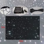 Stage Backdrop 3m x 4m Fireproof Black Fabric White LED Star Curtain DMX LED Starry Sky Cloth Background With Controller For Stage Wedding Party Band Dj Decoration 2