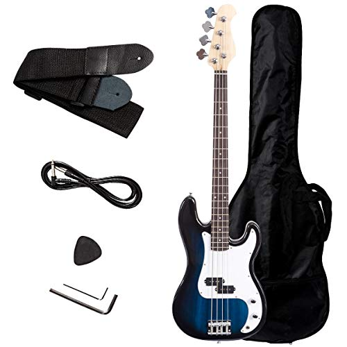 Safstar Electric Bass Guitar Full Size 4 Strings with Amp Cord Strap Carrying Bag