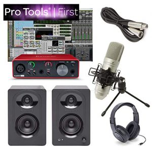 Focusrite Solo Home Recording Studio Bundle Speakers Mic Pro Tools