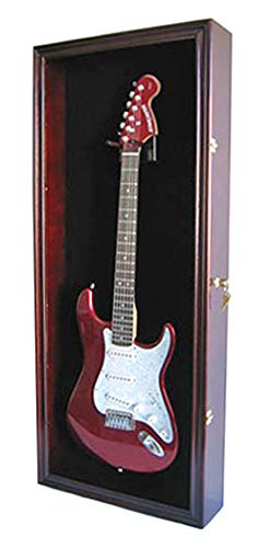 Electric Guitar Display Case Cabinet Shadow Box with Hanger