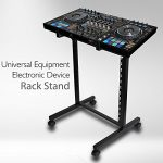 Universal DJ Stand Rack Mount – Heavy Duty Pro Electronic Music Equipment Studio Stage Stand Holder w/ Rolling Wheels, Works w/ Mixer, Power PA Amplifier, Piano Keyboard, MIDI Controller – Pyle PDJSD2 1