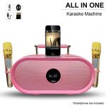 RHM Karaoke Machine for Kids&Adult,2 Wireless Microphones,Rechargeable Battery Speaker,Portable PA Speaker System with Bluetooth/AUX/USB/SD for Home,Party,Wedding,Picnic Outdoor&Indoor Activities-Pink