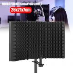 Professional Microphone Isolation Shield, Pop Filter, Studio Mic Sound Absorbing Foam Reflector for Any Condenser Microphone Recording Equipment Studio 3