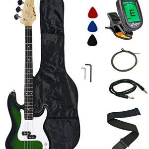 Crescent Electric Bass Guitar Starter Kit - Translucent Green Color (Includes CrescentTM Digital E-Tuner)