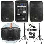 Knox Dual Speaker and Mixer Kit – Portable 8″ 300 Watt DJ PA System with Wired Microphone, and Tripods – 8 Channel Amplifier – Bluetooth, USB, SD, 1/4″ Line RCA, XLR Inputs 1