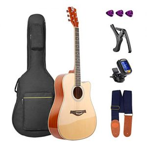 Acoustic Guitar, Glossy Guitar Cutaway 41in Full-Size All-Wood Beginner