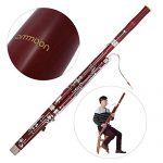 ammoon C Key Bassoon Maple Wood Body Woodwind Instrument with Reed Gloves Cleaning Cloth Carrying Case 3