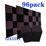 96 Pack Acoustic Panels Soundproof Studio Foam for Walls Sound Absorbing Panels Sound Insulation Panels Wedge for Home Studio Ceiling, 1″ X 12″ X 12″, Black&Coffee (96Pack, Black&Coffee)