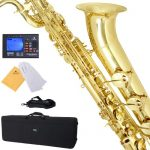 Mendini by Cecilio MBS-30L+92D Lacquer Yellow Brass Intermediate E Flat Baritone Saxophone with Tuner, Pro-Deluxe Case, Mouthpiece and Neck Strap