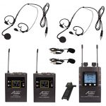 Audio2000'S AWM6601U Mobile Dual Headset Mic/Lapel Mic/Guitar Line Wireless System for Reporter, DSLR Camera, YouTube, Podcast, Video Recording, Vlogging, Interview, Live Sound, Guitar, Teach, Tour