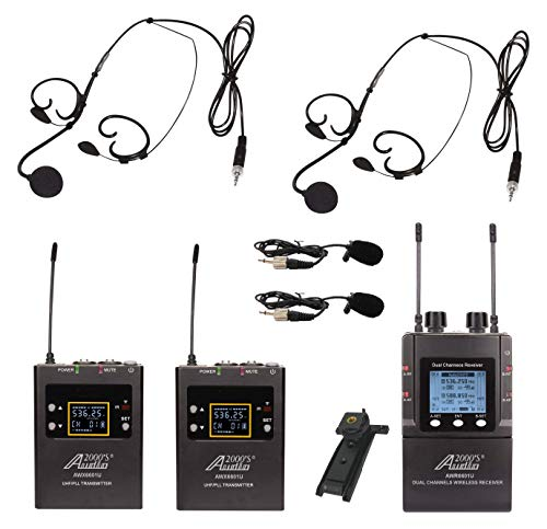 Audio2000'S Mobile Dual Headset Mic/Lapel Mic/Guitar Line Wireless System