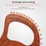 Lyre Harp, AKLOT 16 Metal Strings Mahogany Lye Harp with Tuning Wrench Pick up and Black Gig Bag 2