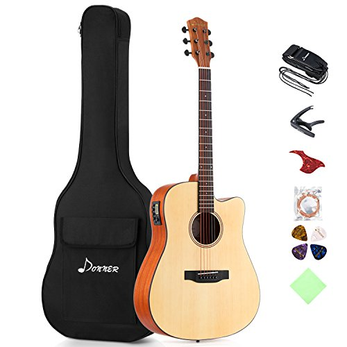 Donner Electric Acoustic Guitar Cutaway 41'' Full-size Guitar Bundle