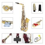 ammoon LADE Alto Saxophone Sax Glossy Brass Engraved Eb E-Flat Natural White Shell Button Wind Instrument with Case Mute Gloves Cleaning Cloth Grease Belt Brush 1