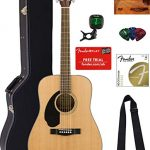 Fender CD-60S Solid Top Dreadnought Acoustic Guitar, Left Handed – Natural Bundle with Hard Case, Tuner, Strap, Strings, Picks, Austin Bazaar Instructional DVD, and Polishing Cloth