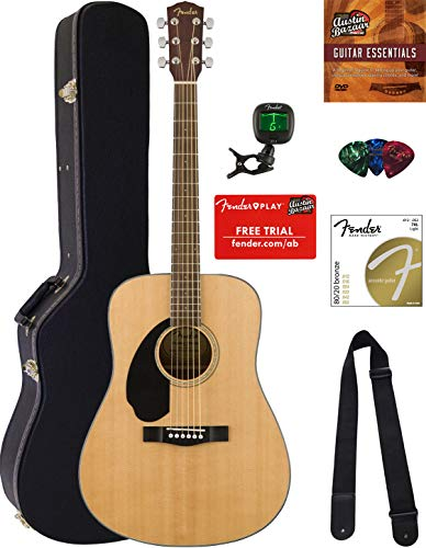 Fender Solid Top Dreadnought Acoustic Guitar, Left Handed