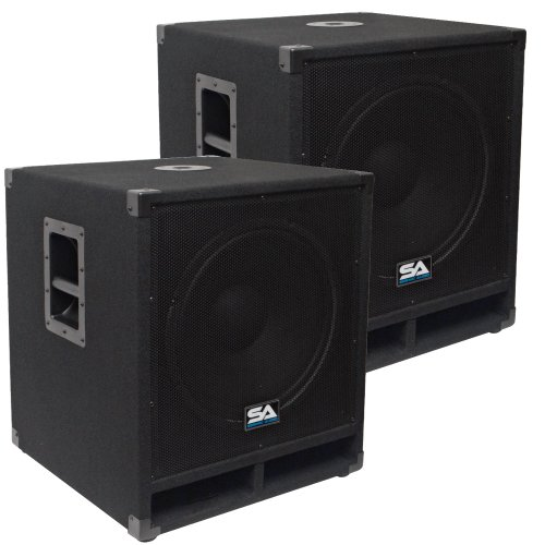 """Seismic Audio - Baby-Tremor - Pair of 15"""" Pro Audio Subwoofer Cabinets"""