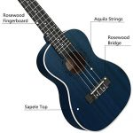 Concert Ukulele Ranch 23 inch Professional Wooden ukelele Instrument with Free Online 12 Lessons and Gig Bag – Small Hawaiian Guitar – Starry Blue 2