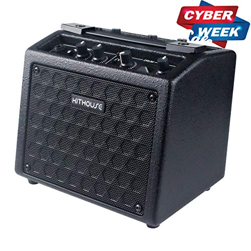 Kithouse B9 Electric Guitar Amp Rechargeable Bass Guitar Amplifier Portable with 18 Types Drum Beats, Microphone & AUX Input, Headset Output