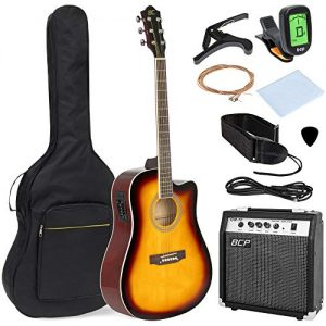 Best Choice Products 41in Full Size Acoustic Electric Cutaway Guitar Set