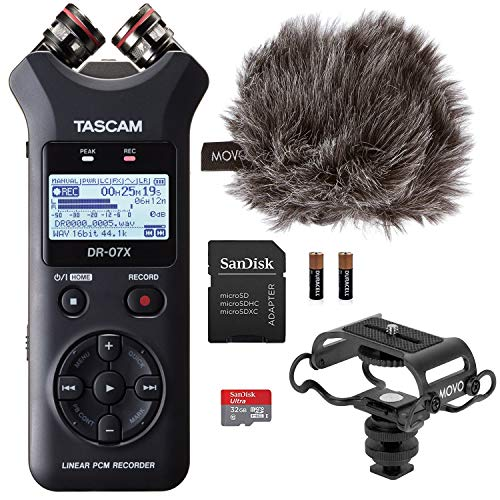 Tascam Digital Audio Recorder Bundle with Movo Microphone Shock Mount