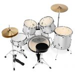 Ashthorpe 5-Piece Full Size Adult Drum Set with Remo Heads & Premium Brass Cymbals – Complete Professional Percussion Kit with Chrome Hardware – Silver 2